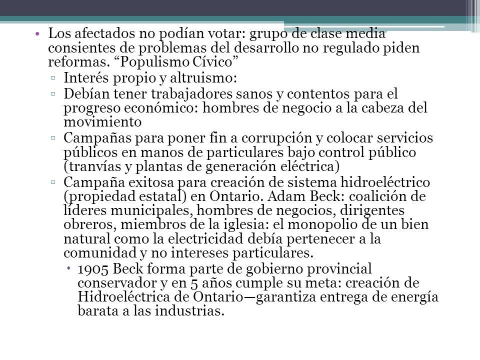 Los afectados no podían votar: grupo de clase media consientes de problemas del desarrollo no regulado piden reformas. Populismo Cívico Interés propio