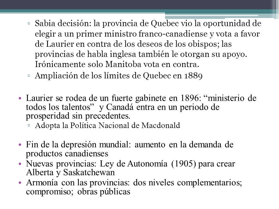 Sabia decisión: la provincia de Quebec vio la oportunidad de elegir a un primer ministro franco-canadiense y vota a favor de Laurier en contra de los