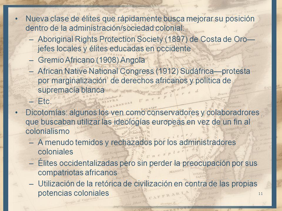 Nueva clase de élites que rápidamente busca mejorar su posición dentro de la administración/sociedad colonial: –Aboriginal Rights Protection Society (