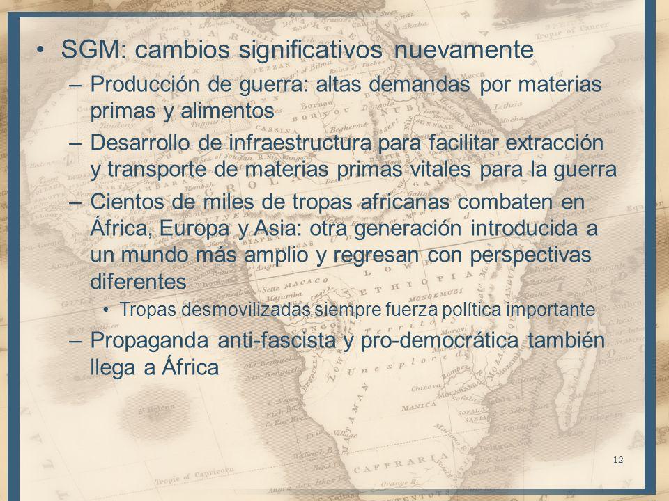SGM: cambios significativos nuevamente –Producción de guerra: altas demandas por materias primas y alimentos –Desarrollo de infraestructura para facil