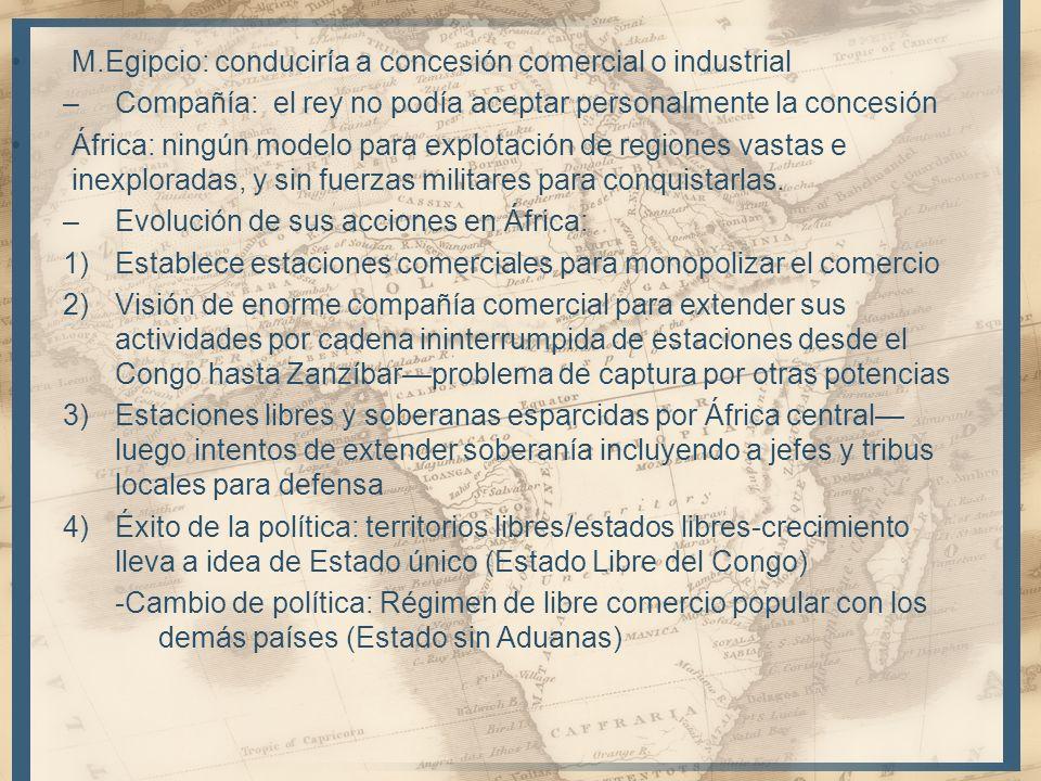 M.Egipcio: conduciría a concesión comercial o industrial –Compañía: el rey no podía aceptar personalmente la concesión África: ningún modelo para expl