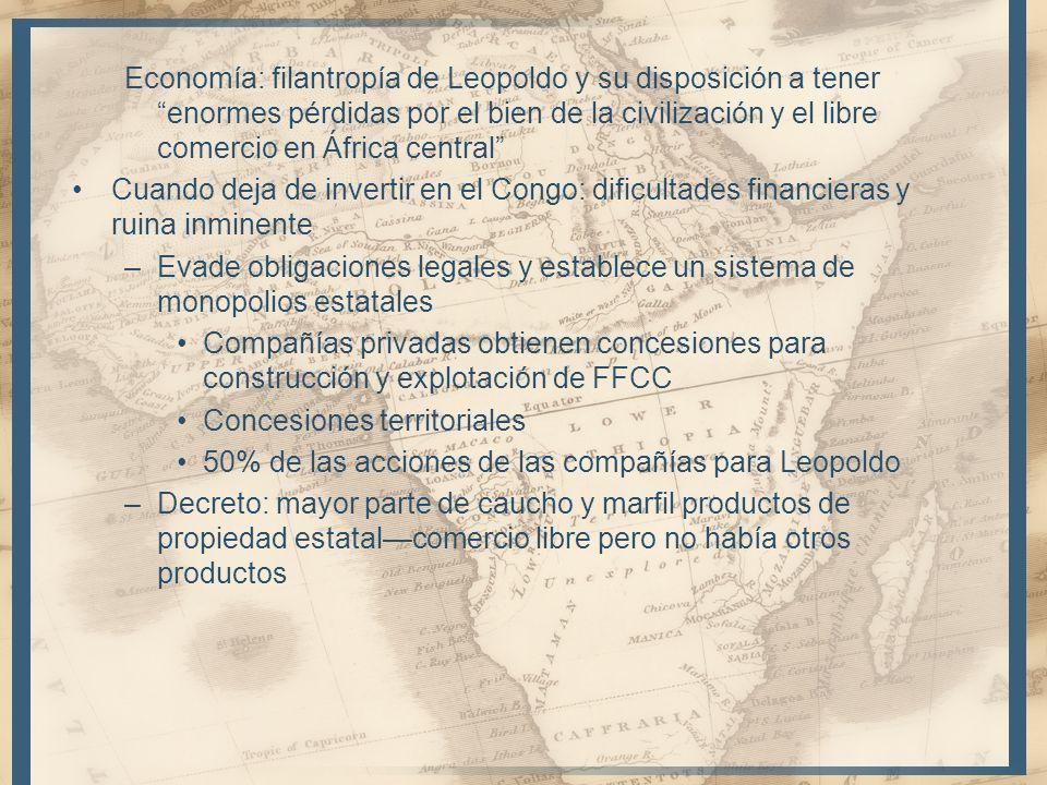 Economía: filantropía de Leopoldo y su disposición a tener enormes pérdidas por el bien de la civilización y el libre comercio en África central Cuand