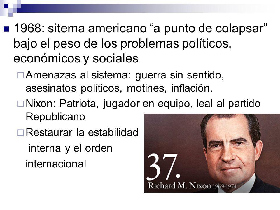 1968: sitema americano a punto de colapsar bajo el peso de los problemas políticos, económicos y sociales Amenazas al sistema: guerra sin sentido, asesinatos políticos, motines, inflación.