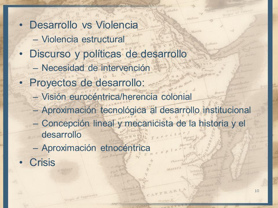 Desarrollo vs Violencia –Violencia estructural Discurso y políticas de desarrollo –Necesidad de intervención Proyectos de desarrollo: –Visión eurocént