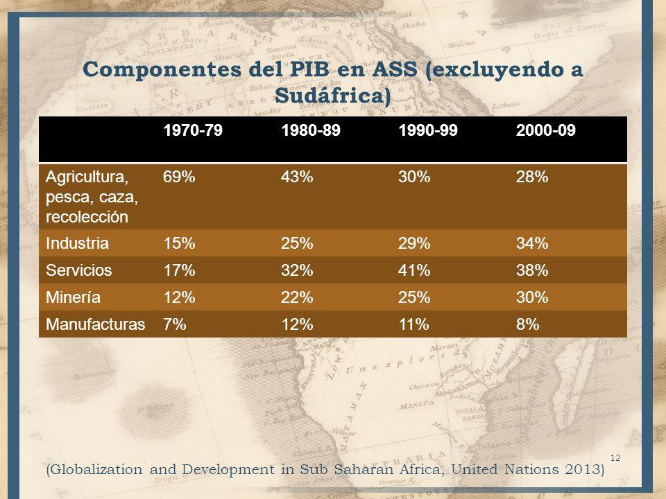 Componentes del PIB en ASS (excluyendo a Sudáfrica) 1970-791980-891990-992000-09 Agricultura, pesca, caza, recolección 69%43%30%28% Industria15%25%29%