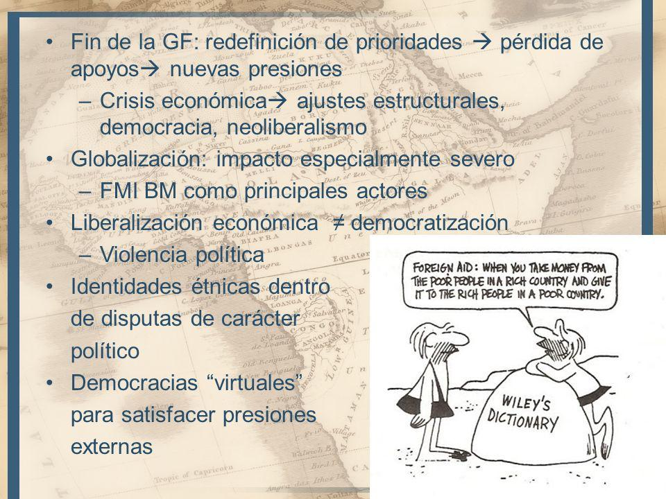 Fin de la GF: redefinición de prioridades pérdida de apoyos nuevas presiones –Crisis económica ajustes estructurales, democracia, neoliberalismo Globa