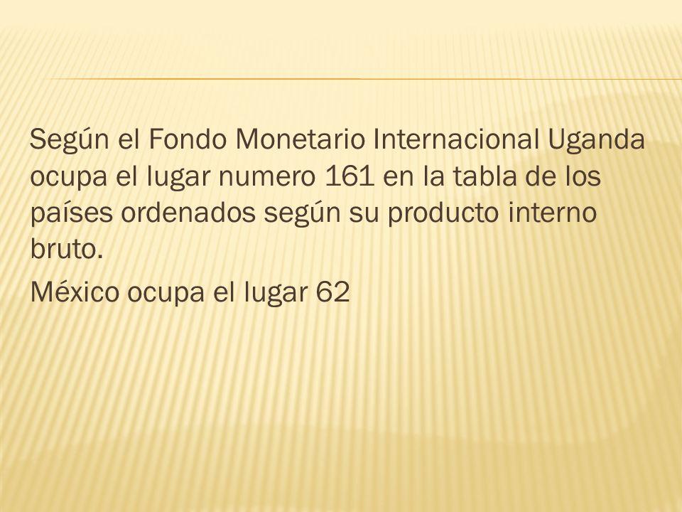 Según el Fondo Monetario Internacional Uganda ocupa el lugar numero 161 en la tabla de los países ordenados según su producto interno bruto. México oc