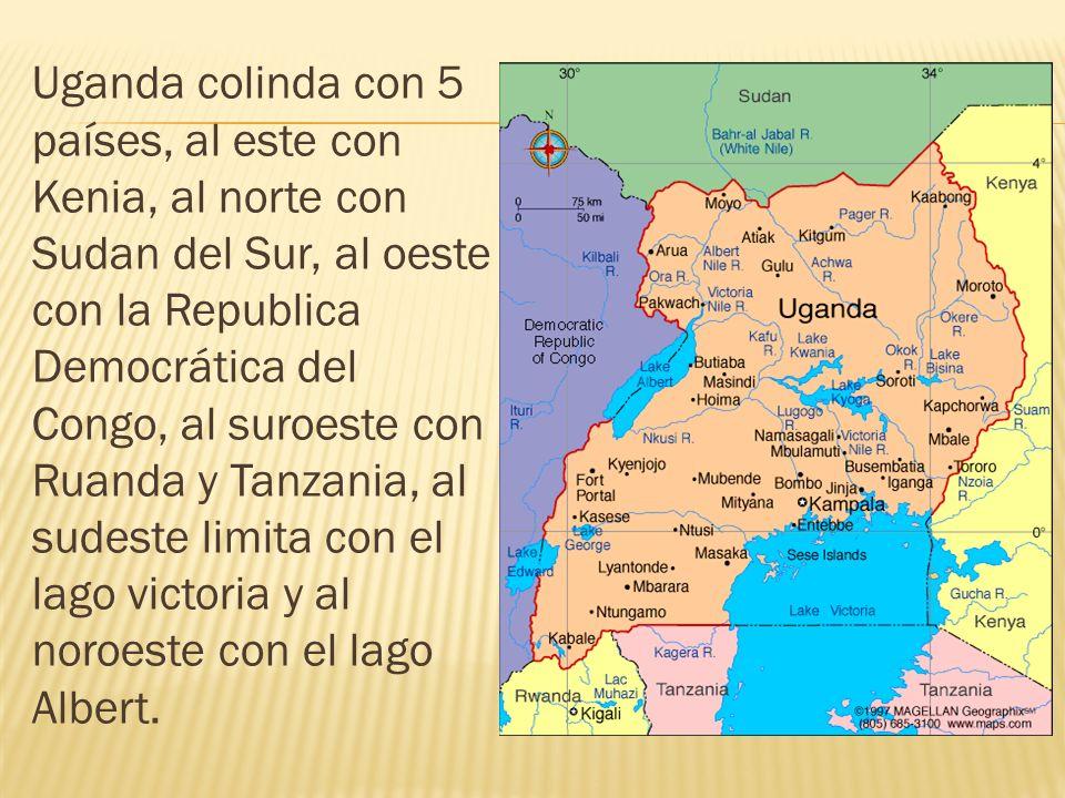 Uganda colinda con 5 países, al este con Kenia, al norte con Sudan del Sur, al oeste con la Republica Democrática del Congo, al suroeste con Ruanda y