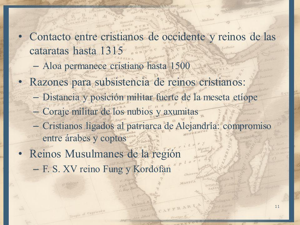 Contacto entre cristianos de occidente y reinos de las cataratas hasta 1315 – Aloa permanece cristiano hasta 1500 Razones para subsistencia de reinos