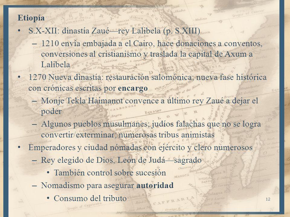 Etiopía S.X-XII: dinastía Zauérey Lalibela (p. S.XIII) – 1210 envía embajada a el Cairo, hace donaciones a conventos, conversiones al cristianismo y t