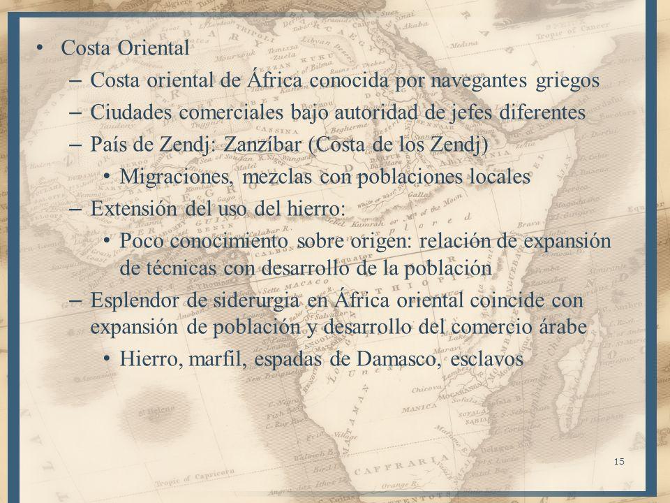 Costa Oriental – Costa oriental de África conocida por navegantes griegos – Ciudades comerciales bajo autoridad de jefes diferentes – País de Zendj: Z