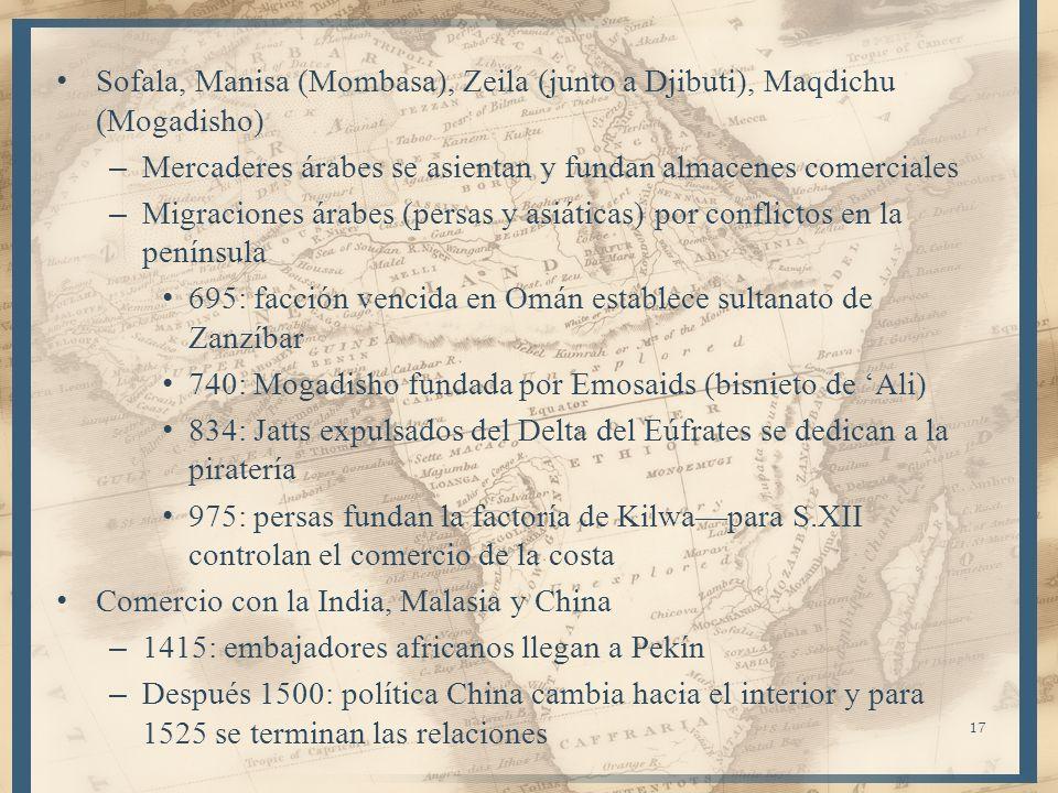 Sofala, Manisa (Mombasa), Zeila (junto a Djibuti), Maqdichu (Mogadisho) – Mercaderes árabes se asientan y fundan almacenes comerciales – Migraciones á