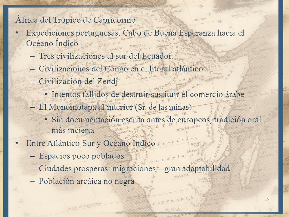 África del Trópico de Capricornio Expediciones portuguesas: Cabo de Buena Esperanza hacia el Océano Índico – Tres civilizaciones al sur del Ecuador: –