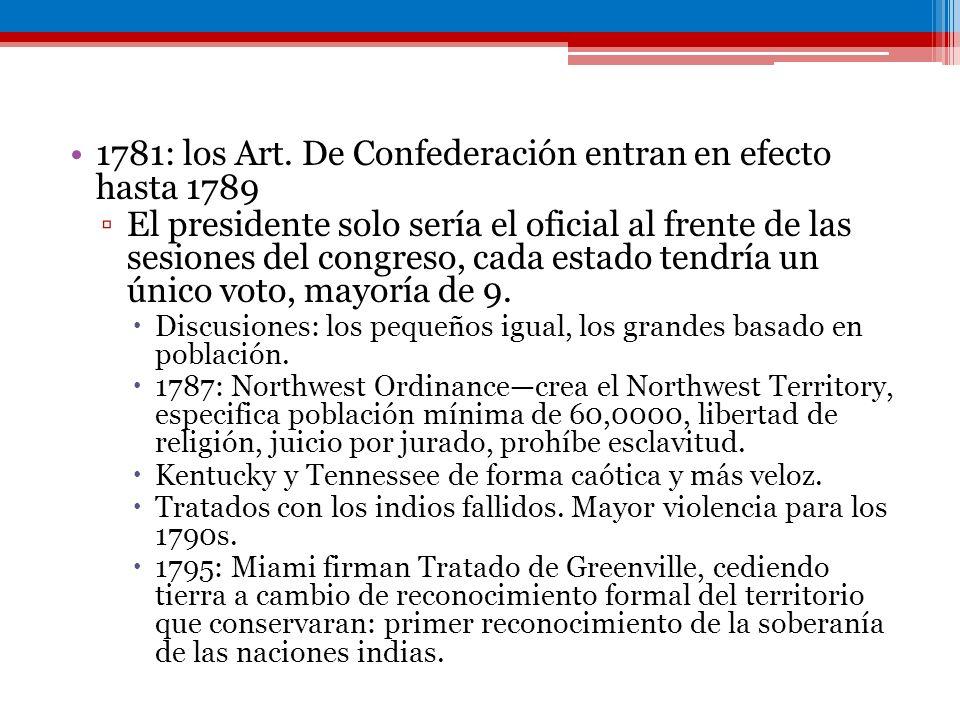 1781: los Art. De Confederación entran en efecto hasta 1789 El presidente solo sería el oficial al frente de las sesiones del congreso, cada estado te