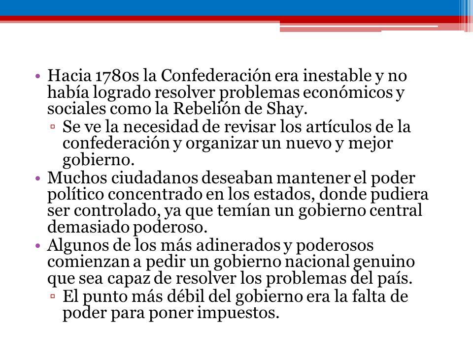 Hacia 1780s la Confederación era inestable y no había logrado resolver problemas económicos y sociales como la Rebelión de Shay. Se ve la necesidad de