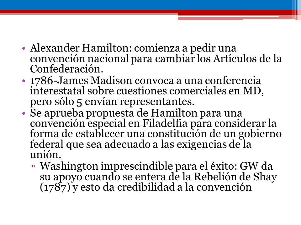 Alexander Hamilton: comienza a pedir una convención nacional para cambiar los Artículos de la Confederación. 1786-James Madison convoca a una conferen