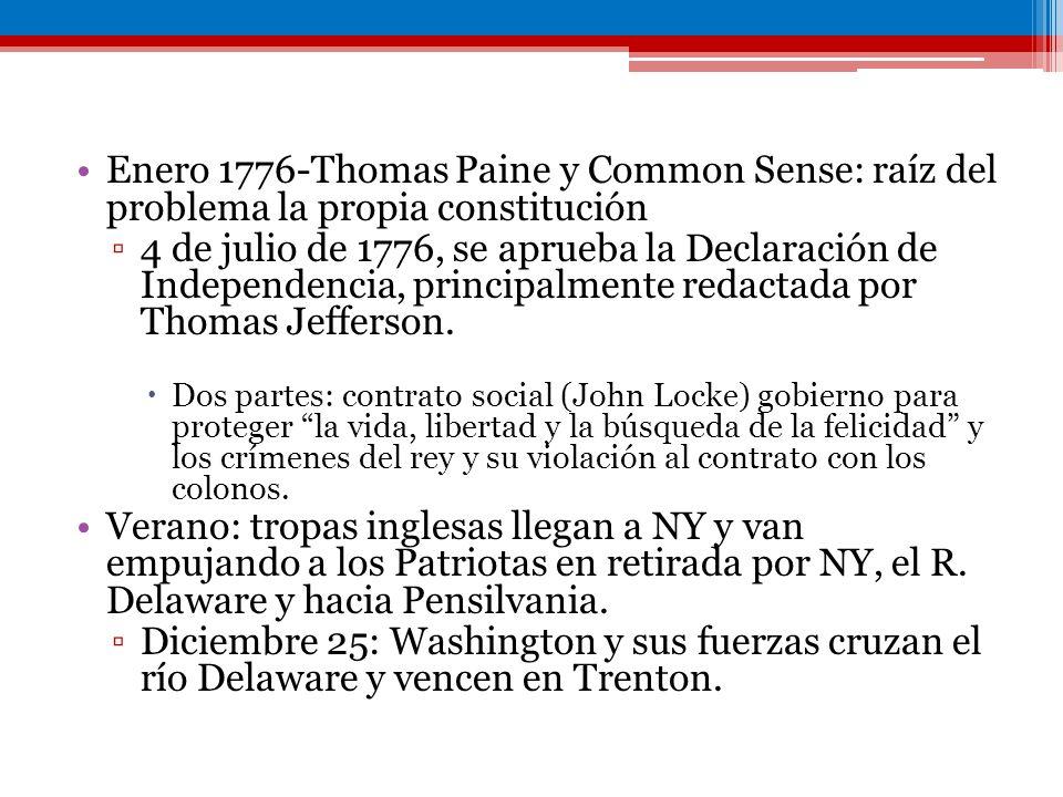 Enero 1776-Thomas Paine y Common Sense: raíz del problema la propia constitución 4 de julio de 1776, se aprueba la Declaración de Independencia, princ