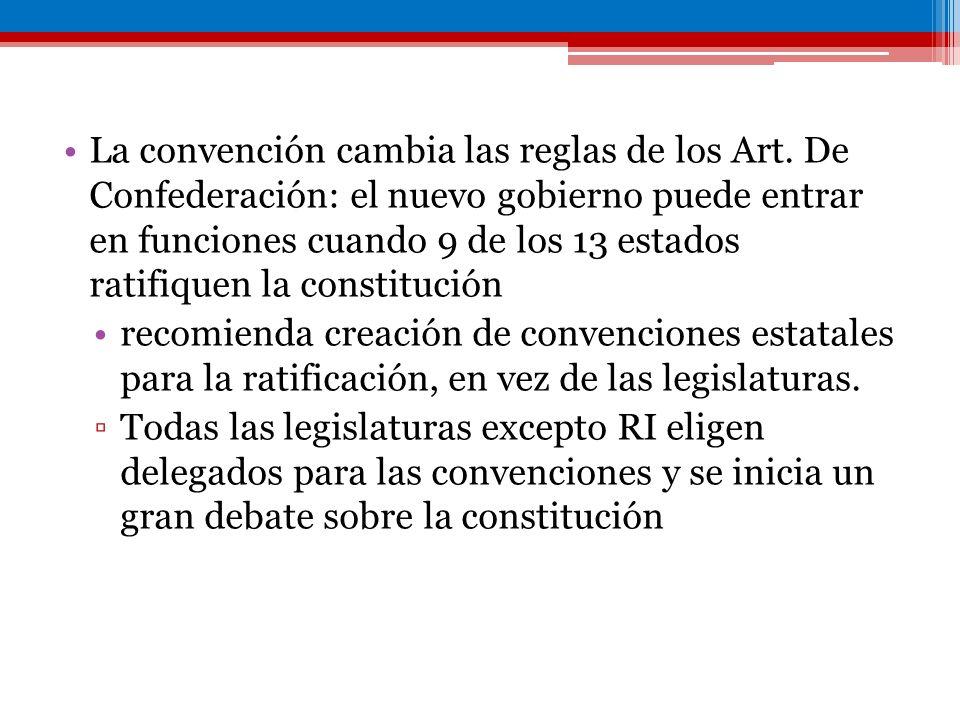 La convención cambia las reglas de los Art. De Confederación: el nuevo gobierno puede entrar en funciones cuando 9 de los 13 estados ratifiquen la con