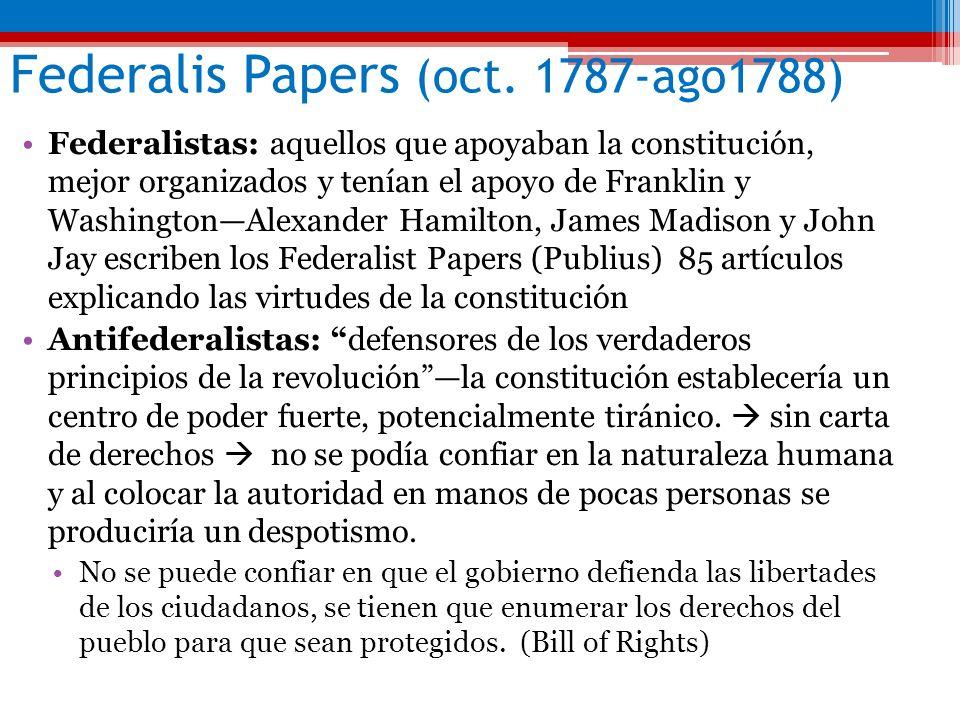 Federalis Papers (oct. 1787-ago1788) Federalistas: aquellos que apoyaban la constitución, mejor organizados y tenían el apoyo de Franklin y Washington