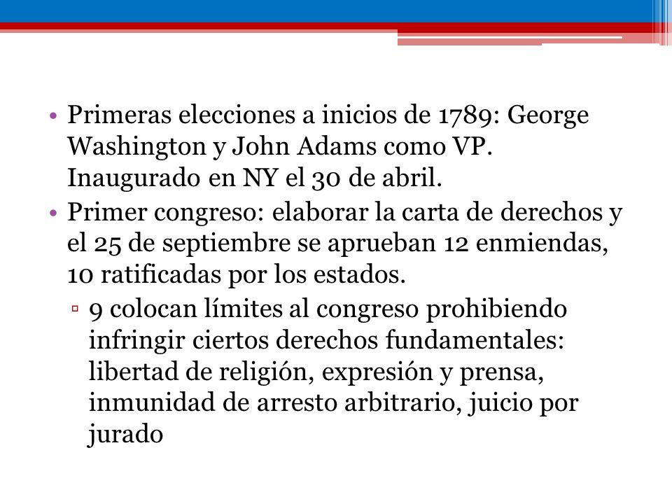 Primeras elecciones a inicios de 1789: George Washington y John Adams como VP. Inaugurado en NY el 30 de abril. Primer congreso: elaborar la carta de