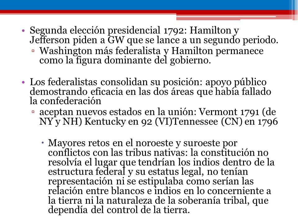 Segunda elección presidencial 1792: Hamilton y Jefferson piden a GW que se lance a un segundo periodo. Washington más federalista y Hamilton permanece