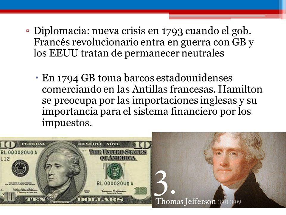 Diplomacia: nueva crisis en 1793 cuando el gob. Francés revolucionario entra en guerra con GB y los EEUU tratan de permanecer neutrales En 1794 GB tom