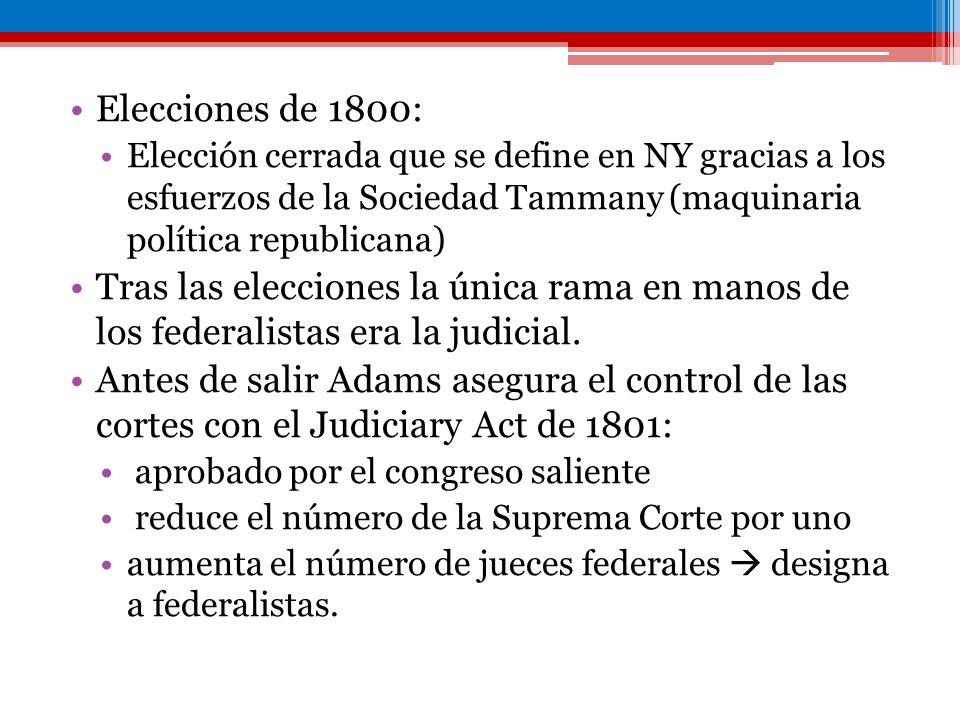 Elecciones de 1800: Elección cerrada que se define en NY gracias a los esfuerzos de la Sociedad Tammany (maquinaria política republicana) Tras las ele