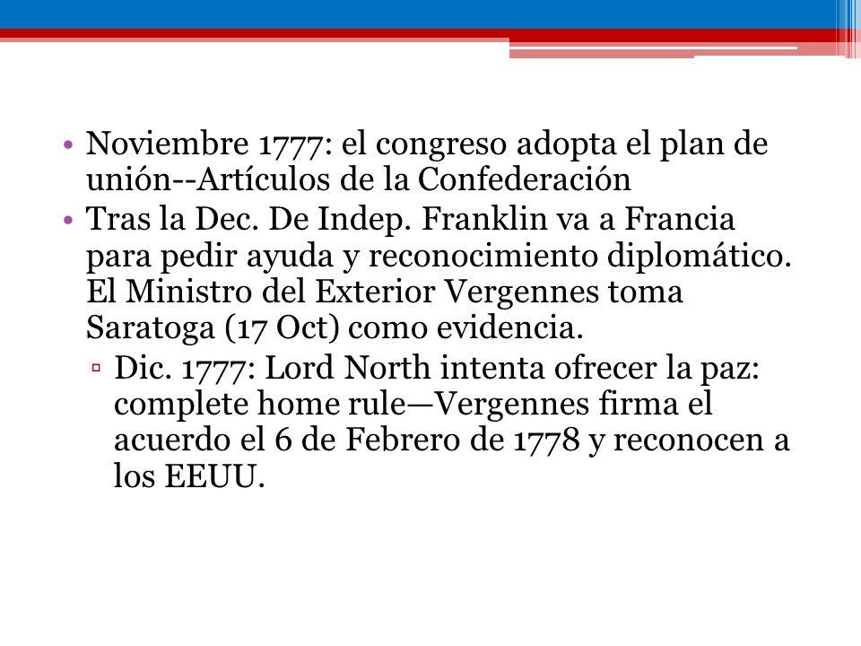 Noviembre 1777: el congreso adopta el plan de unión--Artículos de la Confederación Tras la Dec. De Indep. Franklin va a Francia para pedir ayuda y rec