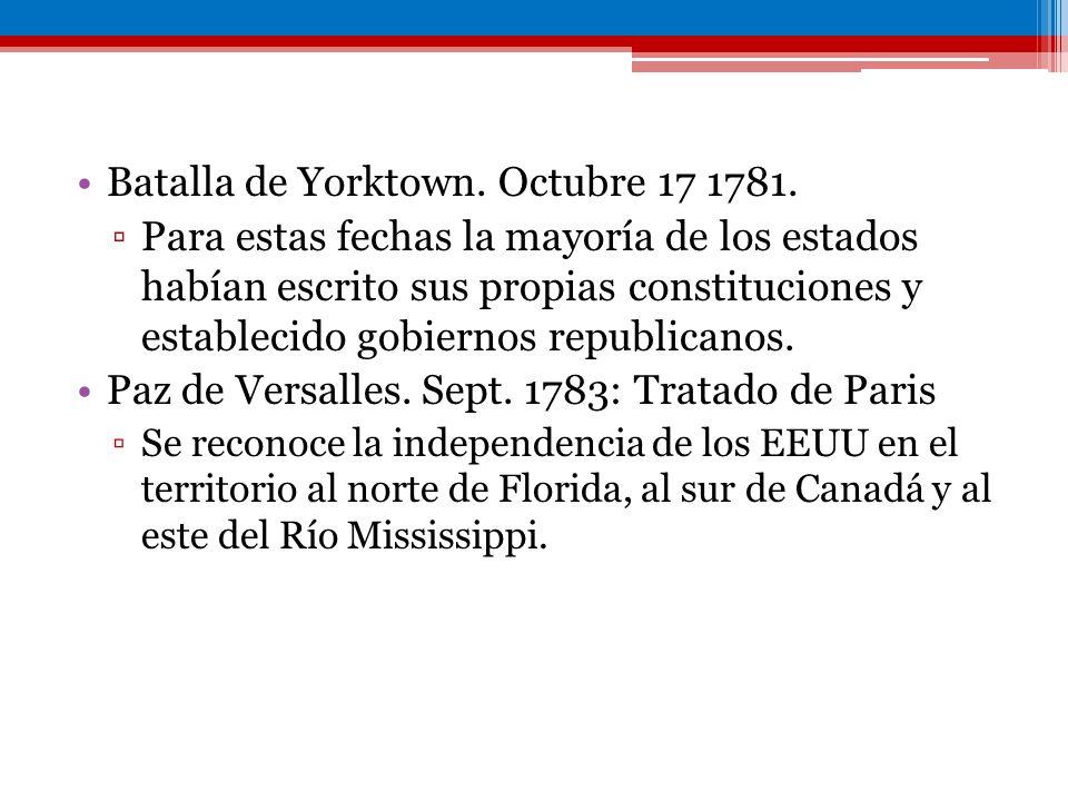 Batalla de Yorktown. Octubre 17 1781. Para estas fechas la mayoría de los estados habían escrito sus propias constituciones y establecido gobiernos re