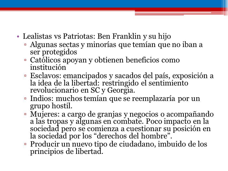 Lealistas vs Patriotas: Ben Franklin y su hijo Algunas sectas y minorías que temían que no iban a ser protegidos Católicos apoyan y obtienen beneficio