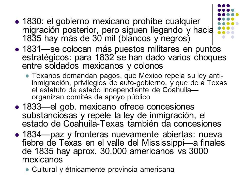 1830: el gobierno mexicano prohíbe cualquier migración posterior, pero siguen llegando y hacia 1835 hay más de 30 mil (blancos y negros) 1831se coloca