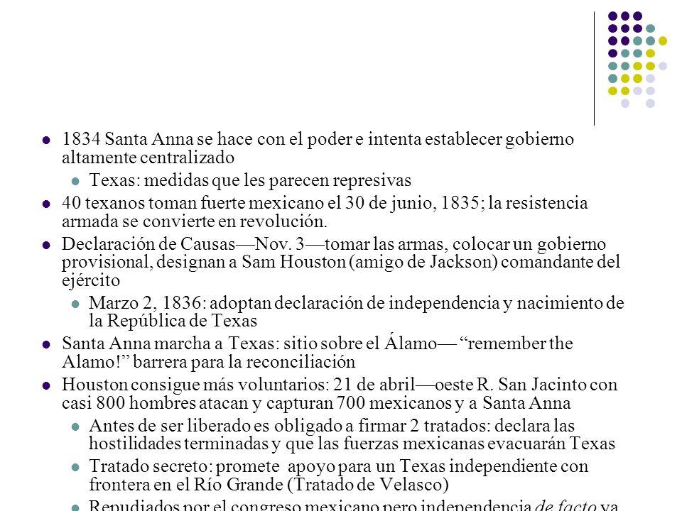 1834 Santa Anna se hace con el poder e intenta establecer gobierno altamente centralizado Texas: medidas que les parecen represivas 40 texanos toman f