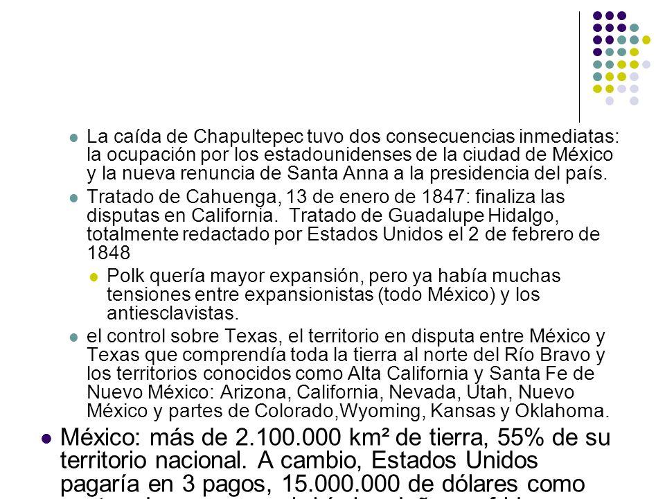 La caída de Chapultepec tuvo dos consecuencias inmediatas: la ocupación por los estadounidenses de la ciudad de México y la nueva renuncia de Santa An