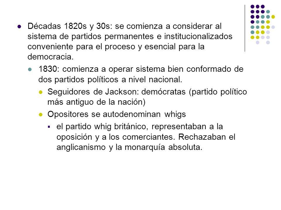 Décadas 1820s y 30s: se comienza a considerar al sistema de partidos permanentes e institucionalizados conveniente para el proceso y esencial para la