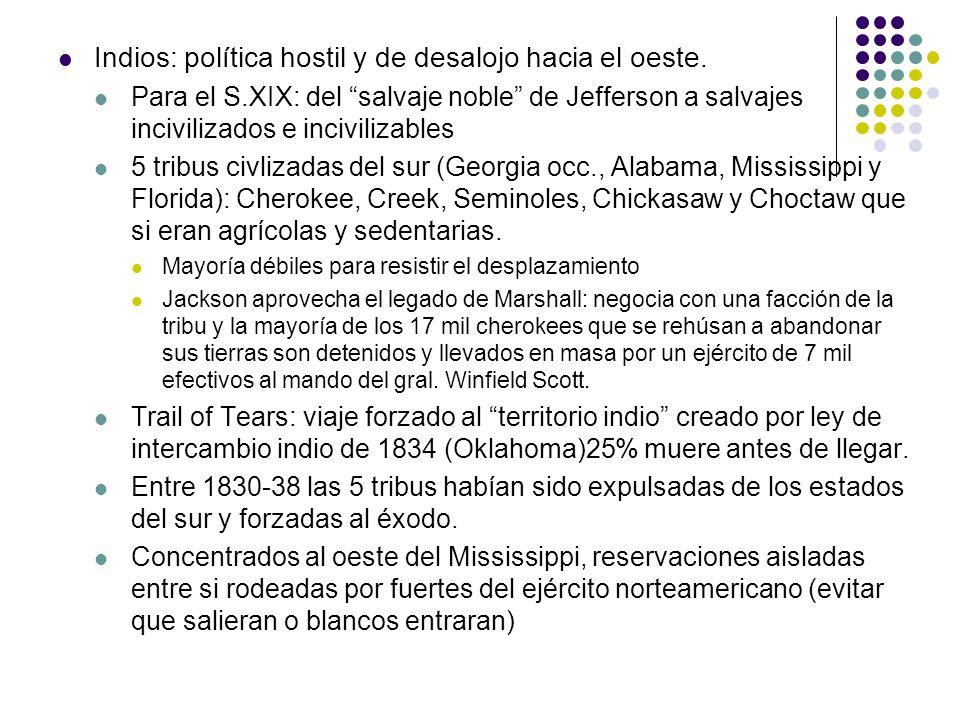 Indios: política hostil y de desalojo hacia el oeste. Para el S.XIX: del salvaje noble de Jefferson a salvajes incivilizados e incivilizables 5 tribus