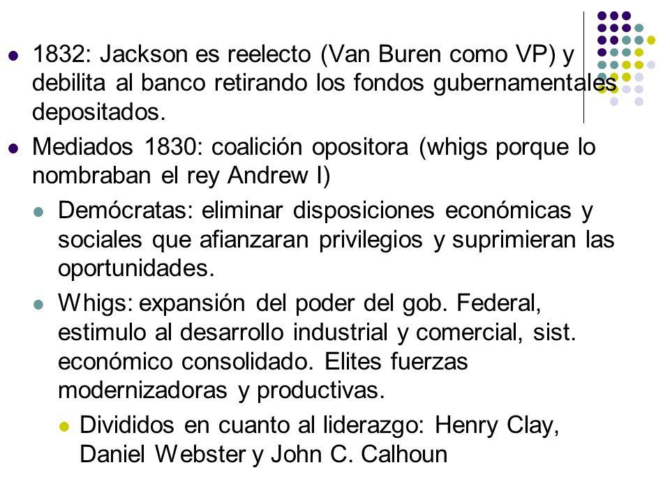 1832: Jackson es reelecto (Van Buren como VP) y debilita al banco retirando los fondos gubernamentales depositados. Mediados 1830: coalición opositora