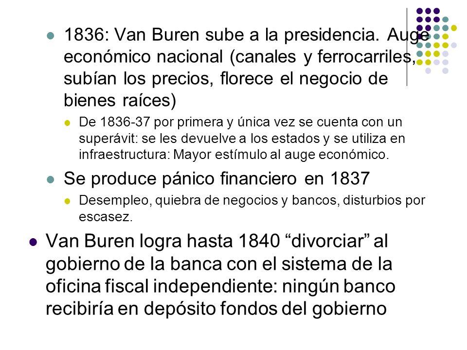 1836: Van Buren sube a la presidencia. Auge económico nacional (canales y ferrocarriles, subían los precios, florece el negocio de bienes raíces) De 1