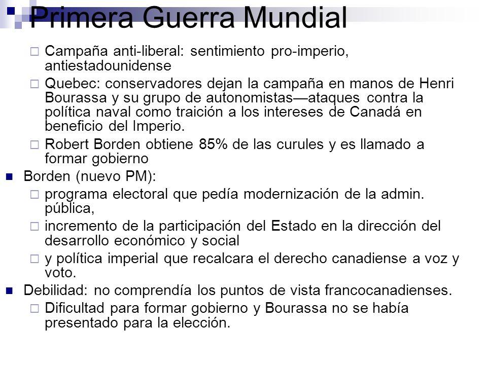 Campaña anti-liberal: sentimiento pro-imperio, antiestadounidense Quebec: conservadores dejan la campaña en manos de Henri Bourassa y su grupo de auto