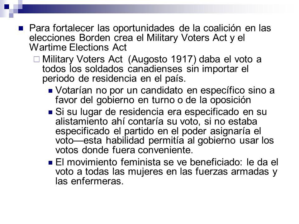 Para fortalecer las oportunidades de la coalición en las elecciones Borden crea el Military Voters Act y el Wartime Elections Act Military Voters Act