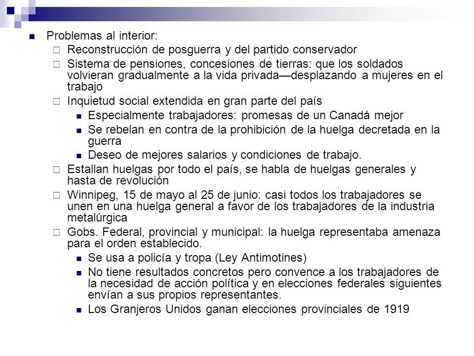 Problemas al interior: Reconstrucción de posguerra y del partido conservador Sistema de pensiones, concesiones de tierras: que los soldados volvieran