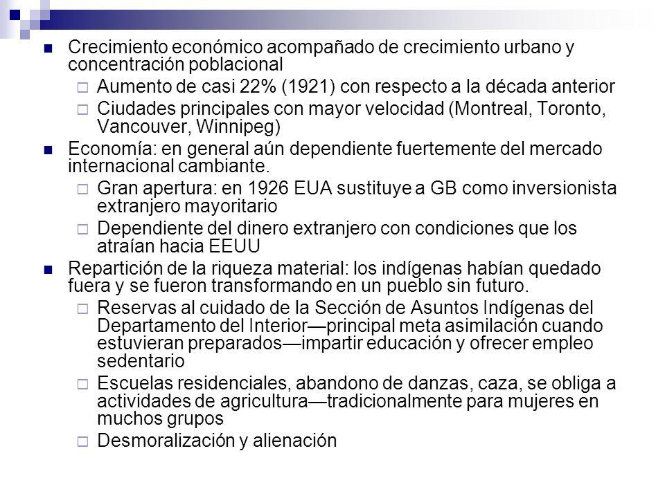Crecimiento económico acompañado de crecimiento urbano y concentración poblacional Aumento de casi 22% (1921) con respecto a la década anterior Ciudad