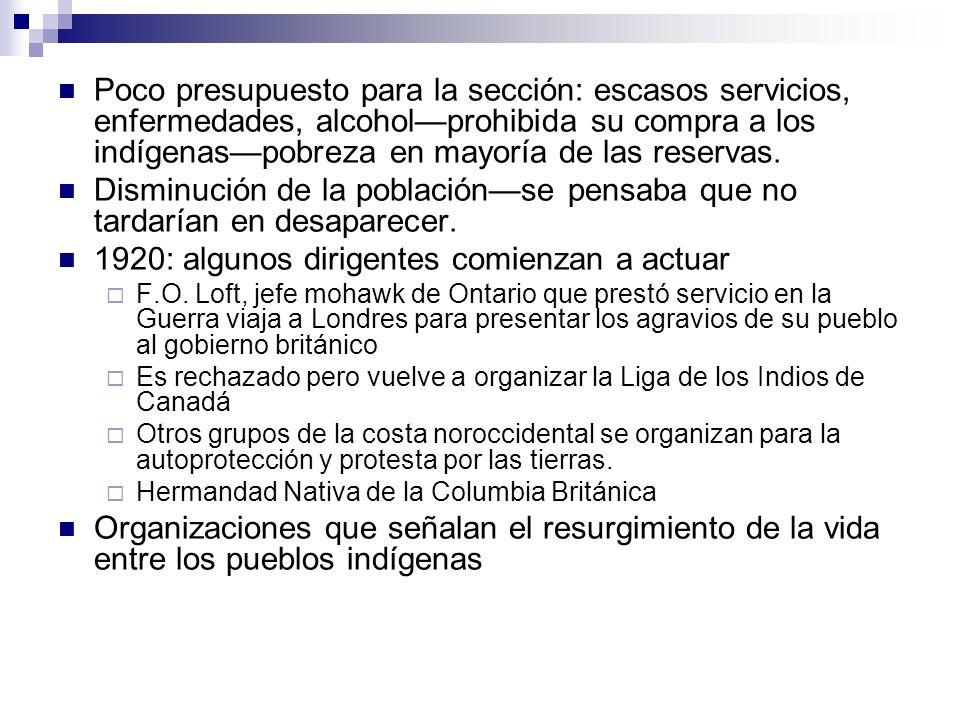 Poco presupuesto para la sección: escasos servicios, enfermedades, alcoholprohibida su compra a los indígenaspobreza en mayoría de las reservas. Dismi