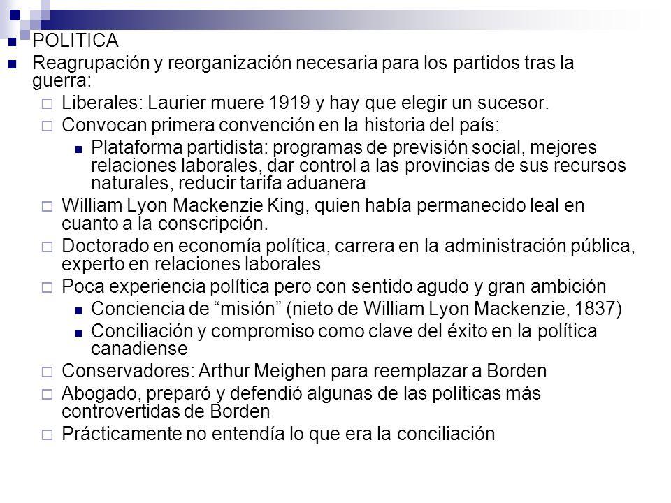 POLITICA Reagrupación y reorganización necesaria para los partidos tras la guerra: Liberales: Laurier muere 1919 y hay que elegir un sucesor. Convocan