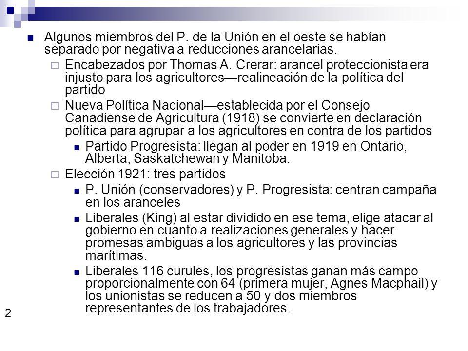 Algunos miembros del P. de la Unión en el oeste se habían separado por negativa a reducciones arancelarias. Encabezados por Thomas A. Crerar: arancel