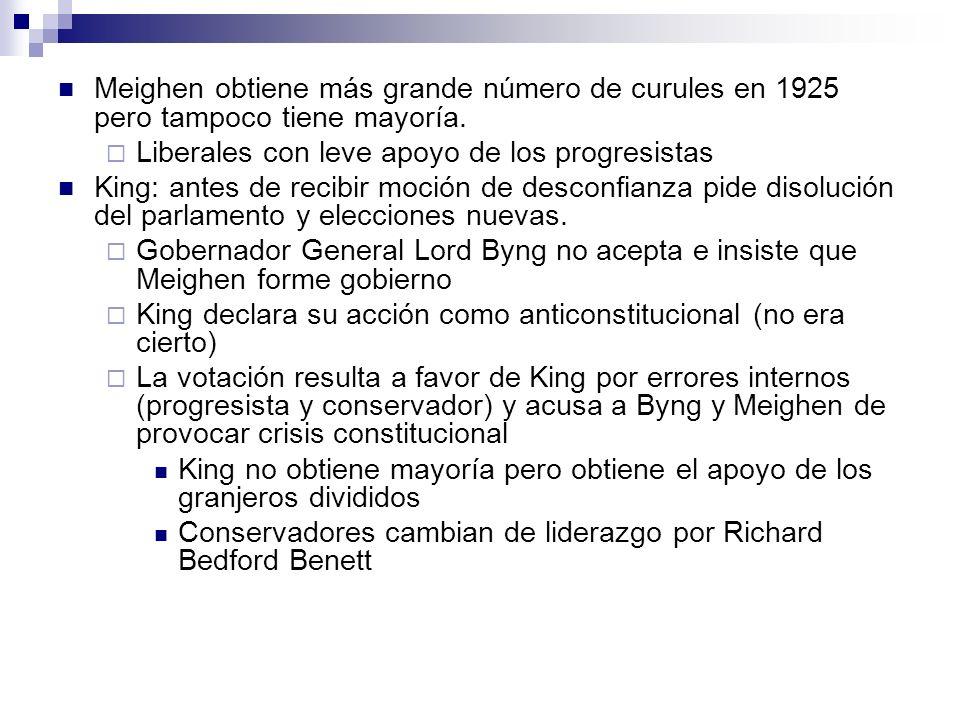 Meighen obtiene más grande número de curules en 1925 pero tampoco tiene mayoría. Liberales con leve apoyo de los progresistas King: antes de recibir m