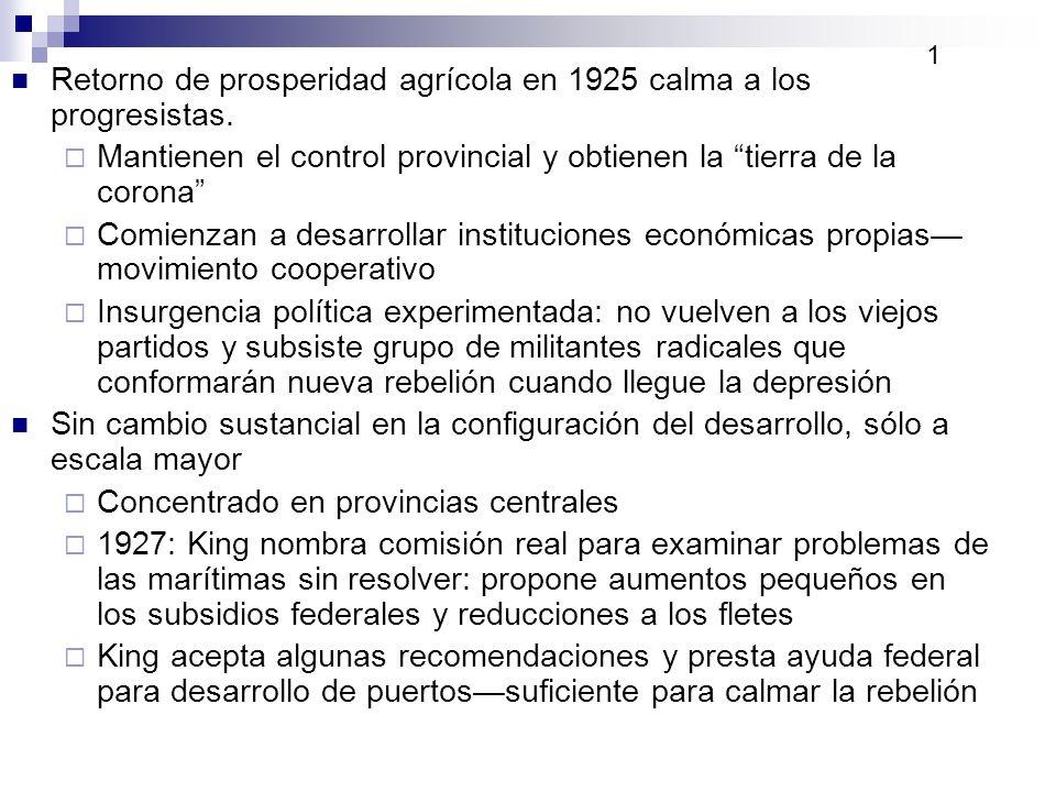 Retorno de prosperidad agrícola en 1925 calma a los progresistas. Mantienen el control provincial y obtienen la tierra de la corona Comienzan a desarr