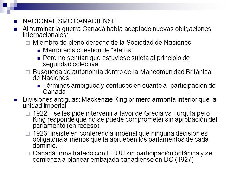 NACIONALISMO CANADIENSE Al terminar la guerra Canadá había aceptado nuevas obligaciones internacionales: Miembro de pleno derecho de la Sociedad de Na