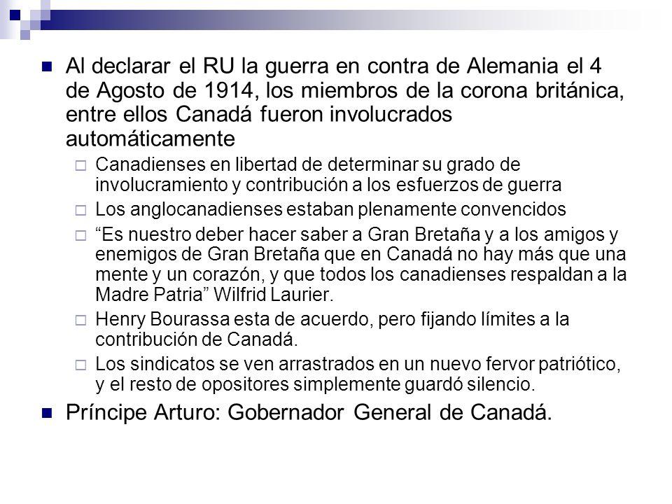 Al declarar el RU la guerra en contra de Alemania el 4 de Agosto de 1914, los miembros de la corona británica, entre ellos Canadá fueron involucrados