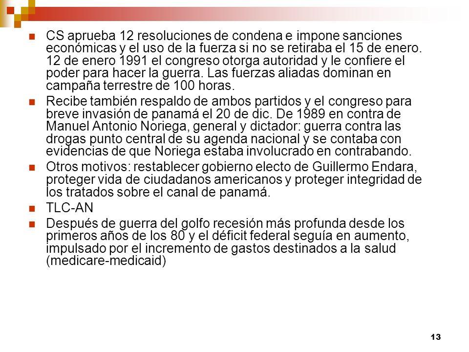 13 CS aprueba 12 resoluciones de condena e impone sanciones económicas y el uso de la fuerza si no se retiraba el 15 de enero. 12 de enero 1991 el con