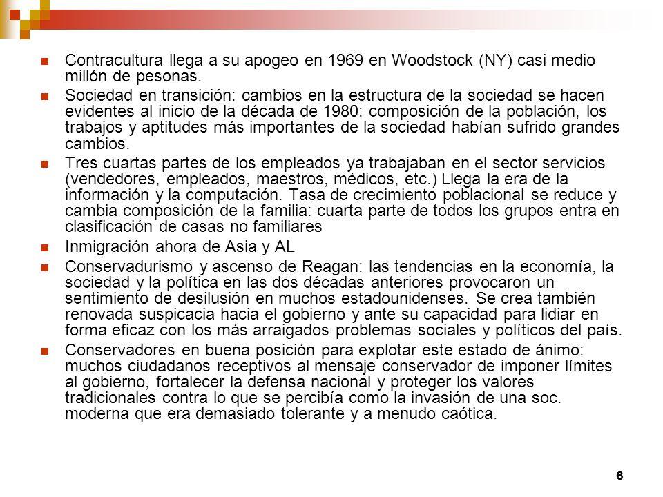 6 Contracultura llega a su apogeo en 1969 en Woodstock (NY) casi medio millón de pesonas. Sociedad en transición: cambios en la estructura de la socie